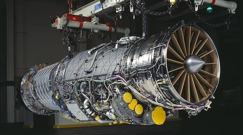 An F-135 engine from a F-35 Lightning Joint Strike Fighter. Supplied by TAE Aerospace.