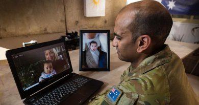 Australian Army officer Major Varun Singh talks to family in Australia via Skype from the Taji Military Complex, Iraq. Photo by Corporal David Said.