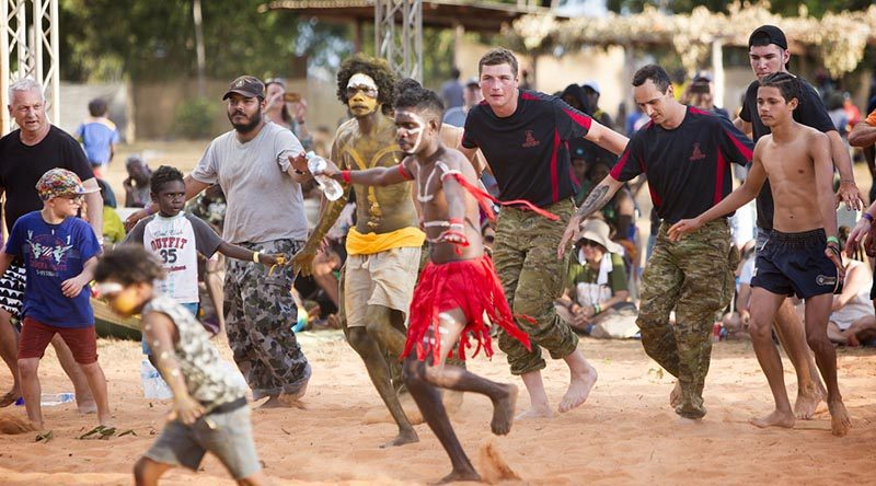 ADF members take part in a dance ceremony during this year's Garma Festival in Arnhem Land. Photo by Petty Officer James Whittle.