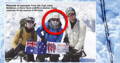 Lieutenant Terry Harch (centre) on top of Mt Cook in New Zealand. Image from ARMY newspaper.