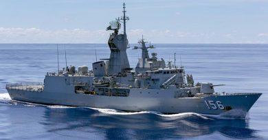 HMAS Toowoomba transits calm seas during Indo-Pacific Endeavour 2018. Photo by Able Seaman Ronnie Baltoft.