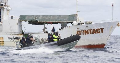 Royal New Zealand Navy fisheries patrol off Fiji. NZDF file photo, digitally altered by CONTACT.