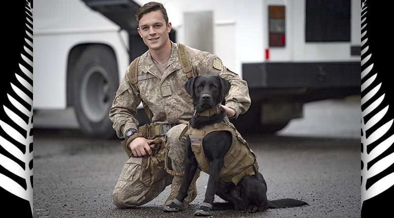 Sapper S O'Keeffe with his explosive detection dog Inky. Both graduated today from an all-of-NZ-government counter explosive hazards (CEH) and explosive detector dog programme. NZDF photo.