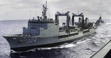 HMAS Success in company with HMAS Toowoomba (rear), and HMAS Adelaide (handrail, front) during Indo Pacific Endeavour 2018. (This image was digitally altered by Defence (no details)). Photo by Able Seaman Kieran Dempsey.