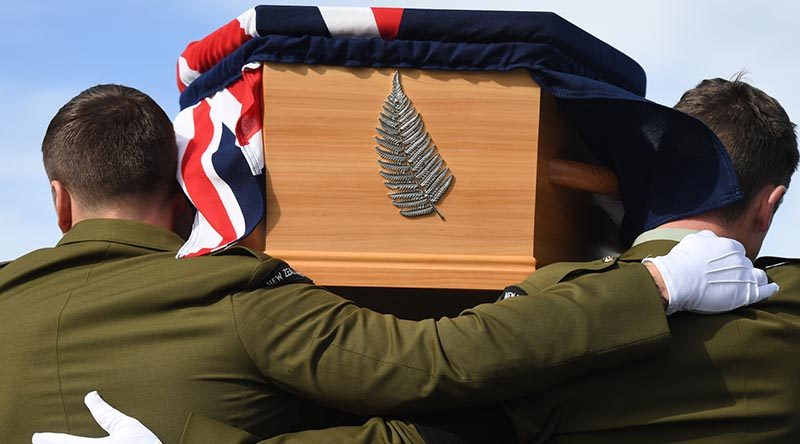 A coffin containing the remains of a New Zealand soldier is returned to his family at Auckland International Airport. NZDF photo. This was part of an ongoing known as Project Te Auraki (The Return).