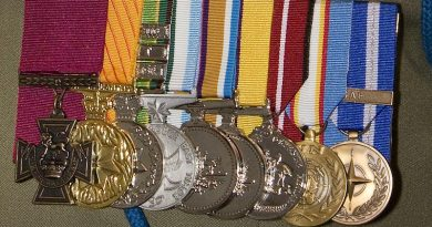 The medal group of Corporal Benjamin Roberts-Smith VC, MG. Photo by Lauren Black.