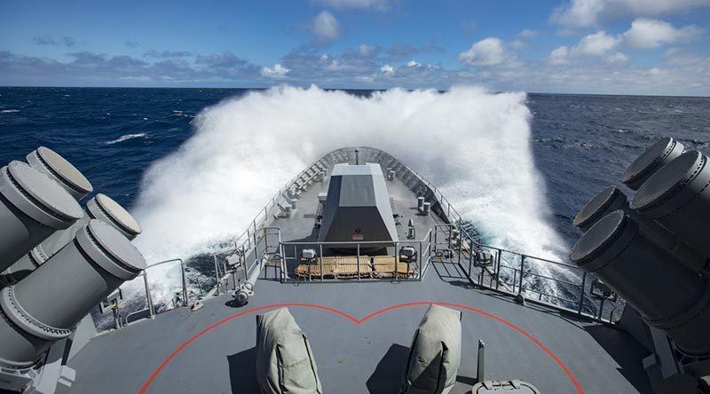 HMAS Ballarat steams toward Amsterdam Island in the Indian Ocean during an international search-and-rescue of two solo yachtsmen on separate distressed yachts. Photo by Able Seaman Christopher Szumlanski.