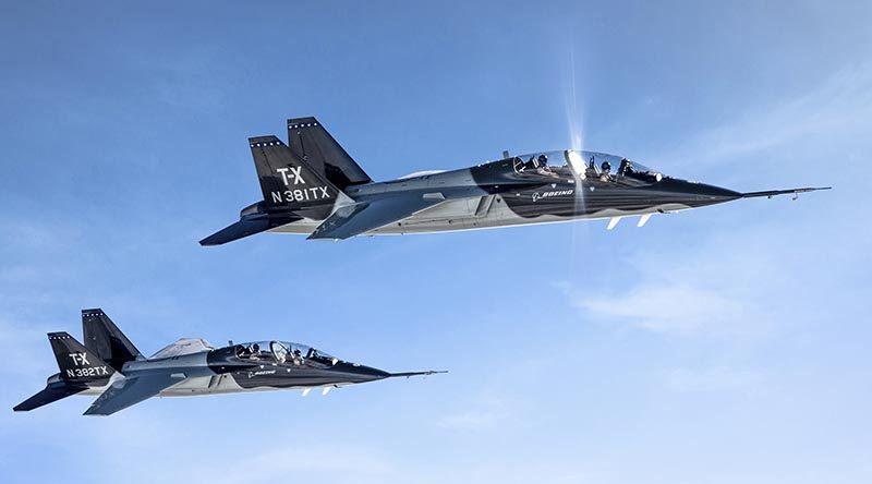 Boeing T-X T-1 and T-2 prototypes designed, developed and flight-tested by a joint team from Boeing and Saab. Boeing photo by John Parker.