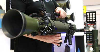 The new Carl-Gustaf M4 displayed at the Saab stand at Land Forces 2018 in Adelaide. Photo by Brian Hartigan.