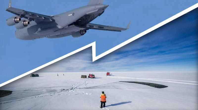 Casey research station expeditioners collect the cargo from the airdrop. Photos by Dominic Hall, Australian Antarctic Division (composite image by CONTACT).