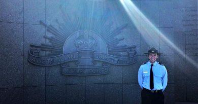 AAFC Cadet Corporal Breydon Verryt-Reid at the Le Hamel Australian Memorial, France.