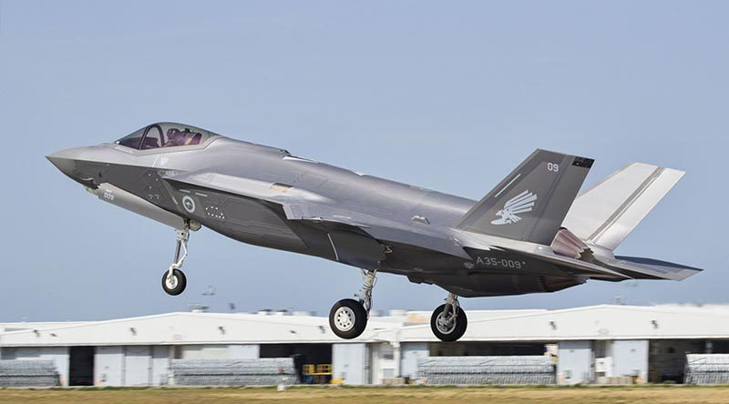 Royal Australian Air Force F-35A Joint Strike Fighter, A35-009, taking off from Luke Air Force Base, Arizona. USAF photo.