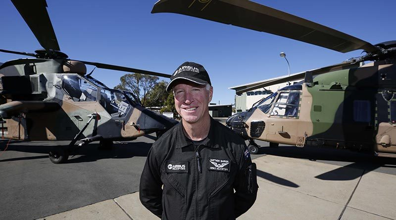 Aussie pilot Matt Barker has become the first pilot in the world to achieve 1000 flight hours on both the ARH Tiger and MRH90 Taipan. Airbus photo.