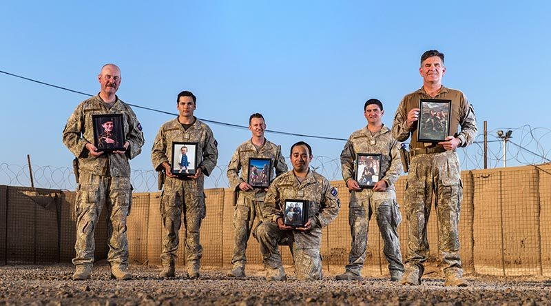 Some of the New Zealand Army fathers serving in Iraq on Fathers' Day 2018 – Lieutenant Roger Baxter, Captain James Brosnan, Staff Sergeant James Kirkland, Lance Corporal Timothy Tupou, Warrant Officer Class Two Kahu Ranginui and Lieutenant Colonel Jason Hutchings. Photo by Corporal David Said.