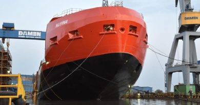The partially completed RSV Nuyina, Australia's replacement icebreaker, is floated at the Damen Shipyards in Galati, Romania. Serco photo.