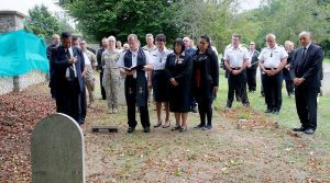 Kaumātua and an NZDF chaplain lead a ceremony at St Mary Cray Cemetery in Kent, ahead of the exhumation of Engine Room Artificer Apprentice Philip Short. NZDF photo.