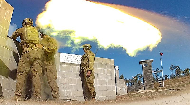 Australian Army soldiers from 1RAR fire an 84mm Carl-Gustaf weapon at High Range Training Area near Townsville. Photo by Brian Hartigan.