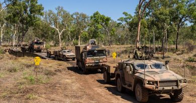New Army Land 121 vehicles cross a new dry support bridge during Land Trial 02-18 in High Range Training Area, north Queensland. Photo by Corporal Nunu Campos.