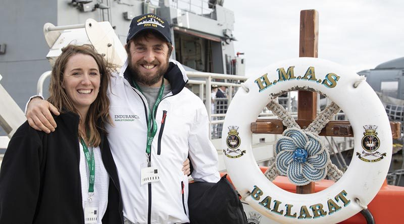 2018 Golden Globe Race competitor Gregor McGuckin is reunited with partner Barbara O'Kelly onboard HMAS Ballarat, at Fleet Base East (sic – official ADF photo caption ;-) ), Western Australia. Photo by Leading Seaman Richard Cordell.