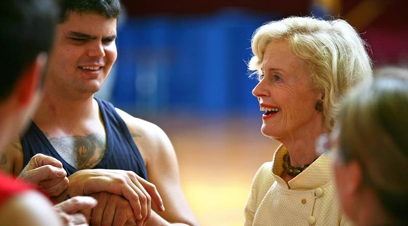 Then Governor General Quentin Bryce chats with members of the ADF Paralympic Sports Program, including Private Liam Haven, left, who was blinded by an IED explosion in Iraq. Photo by Sergeant Brian Hartigan.