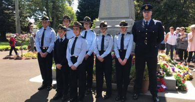 No 612 Squadron Cadets at the Vansittart Gardens Cross of Sacrifice in Mount Gambier on Remembrance Day. Rear rank, left to right: CSGT Breydon Verryt-Reid; CDT Angus Aitken; Cadet Corporals Brian Telford and Megan Laube; CDT Daisy Yates; FLGOFF(AAFC) Geoffrey Yates. Front rank: Cadets Logan Burr and Tobias Flett. Image supplied by 612 Squadron.