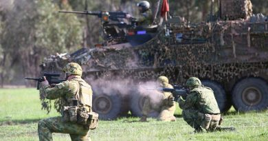 Australian, Japanese and American soldiers conduct a live-fire platoon attack with armoured fighting vehicles at Puckapunyal during Exercise Southern Jackaroo 2014. Photo by Sergeant Brian Hartigan.