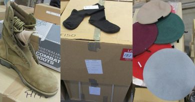 Footwear, headdress and clothing items at auction with 49 reserve. Some say they should have been given to ADF Cadet units.