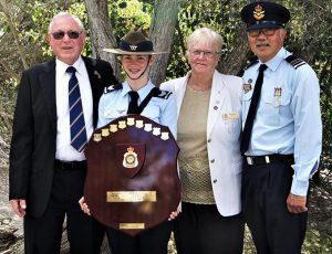 CSGT Tegan Thomas, 622 Squadron Cadet of the Year, with RSL Mannum Sub-Branch Vice-President John Hunter and his wife Sue, Secretary, and CO 622 Squadron SQNLDR (AAFC) Lawrence Ng.