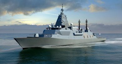 An artist's impression of the BAE Systems SEA 5000 Future Frigate, Global Combal Ship - Australia.