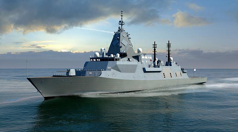 An artist's impression of the BAE Systems SEA 5000 Future Frigate, Global Combal Ship - Australia.