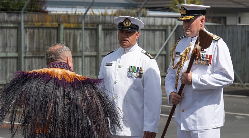 Rear Admiral Jim Gilmour accepts the Tewhatewha from a Maori warrior during the Change of Command ceremony. NZDF photo.