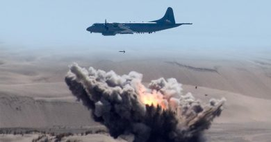A Royal New Zealand Air Force P-3K2 drops a bomb on Kaipara Air Weapons Range. Two NZDF images merged by CONTACT.