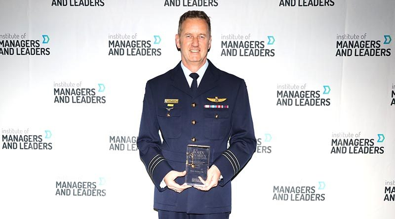 Wing Commander (AAFC) Paul Hughes, Officer Commanding 3 Wing of the Australian Air Force Cadets with his Sir John Storey Outstanding Intentional Leader Award from the Institute of Managers and Leaders. Photo supplied.