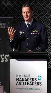 Wing Commander (AAFC) Paul Hughes addresses the audience at the Sir John Storey Leadership Awards in Sydney. Photo supplied.