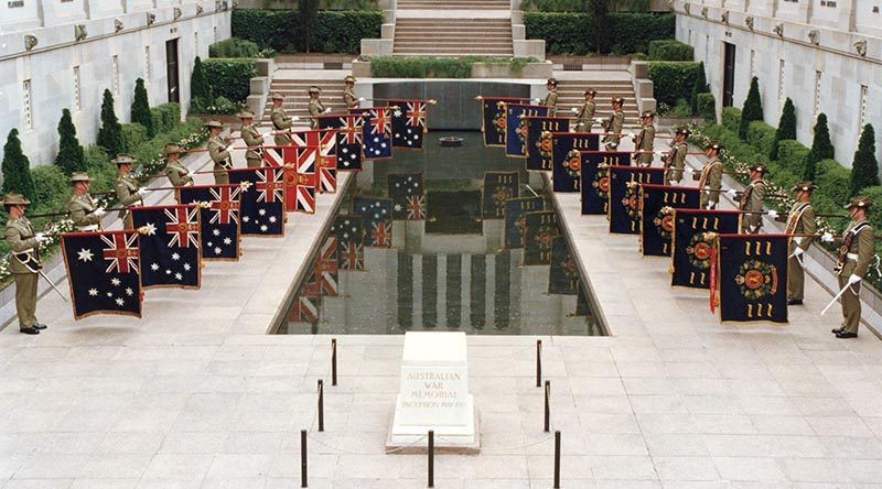 The Queen's and Regimental Colours of all nine Royal Australian Regiment battalions were paraded together for the first time at the Australian War Memorial to mark the 50th Anniversary of the regiment.