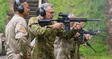 Australia's Chief of Army Lieutenant General Rick Burr showing good form on the range in New Zealand – his New Zealand counterpart Major General John Boswell partly obscured in the background. NZDF photo.