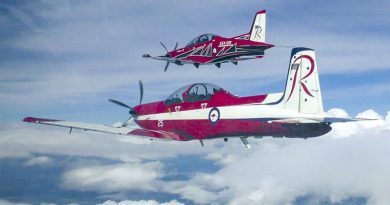 A Royal Australian Air Force PC-9 aircraft trails a new PC-21 aircraft with new Roulettes colour scheme. Photo by Flight Lieutenant Daniel Armstrong.