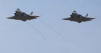 Australia's first two F-35As to be based on home soil – A35-009 and A35-010 – arrive at RAAF Base Williamtown. Photo by Brian Hartigan.