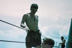 Ian Cavanough on the flight deck of HMAS Sydney, a couple of days into his voyage home from Vietnam.