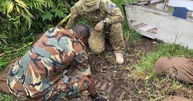 Explosive-ordnance-disposal specialists from the Vanuatu Mobile Force and the Australian Army prepare to destroy WWII ordnance in Vanuatu.