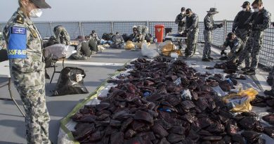 HMAS Ballarat's boarding party and crew prepare 3.1 tonnes of seized hashish for disposal during the ship's deployment on Operation Manitou. Photo by Leading Seaman Bradley Darvill.