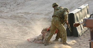 Australian soldiers undergoing casualty evacuation training in the Middle East. Photo by Brian Hartigan.