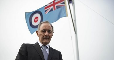 Ian Hingston outside the Royal New Zealand Air Force Publications Information and Drawing office in Heretaunga, Wellington. NZDF photo.