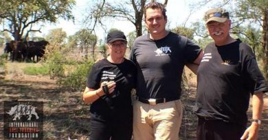 Damien Mander with Trix and Phil Wollen in Africa. IAPF photo.