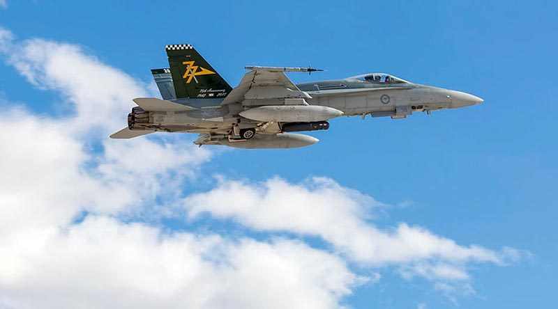 A Royal Australian Air Force Number 77 Squadron F/A-18A Hornet aircraft departs Nellis Air Force Base to participate in an Exercise Red Flag 19-1 mission. Photo by Corporal David Cotton.