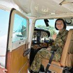 CDT Amy Bigiolli (601 Squadron, Keswick Barracks) in a Cessna 172-N