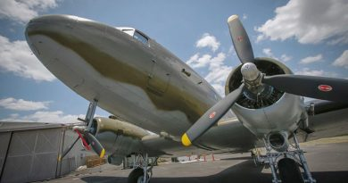 The newly restored A65-86 C-47B Dakota at Amberley Aviation Heritage Centre. Photo by Corporal Jesse Kane.