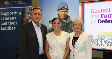 Minister for Veterans' Affairs Darren Chester, Gwen Cherne and DVA Secretary Liz Cosson.