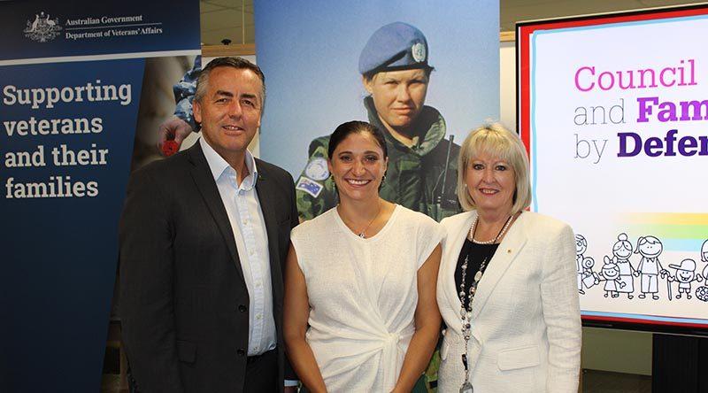 Minister for Veterans' Affairs Darren Chester, Gwen Cherne and DVA Secretary Liz Cosson.