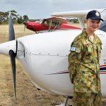 CDT Hudson Elliott (609 Squadron, Warradale Barracks) prepares for his PEX flight in the Cessna 172-M.